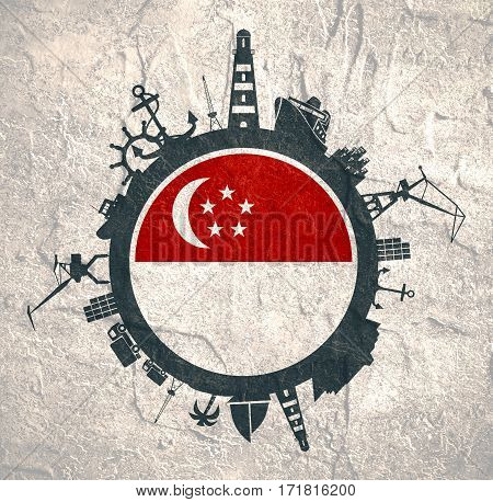 Circle with sea shipping and travel relative silhouettes. Concrete texture. Objects located around the circle. Industrial design background. Singapore flag in the center.