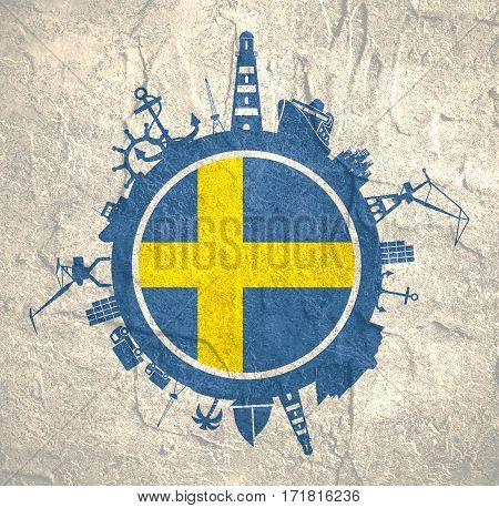 Circle with sea shipping and travel relative silhouettes. Concrete texture. Objects located around the circle. Industrial design background. Sweden flag in the center.