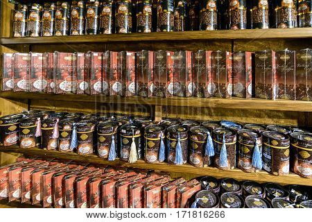 Kumluca, Turkey - June 20.2014. Beans and ground coffee on a shelf in a store