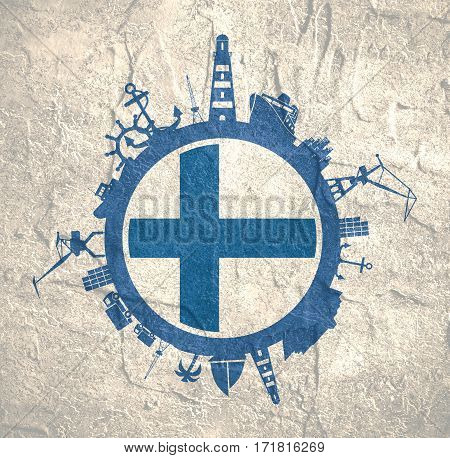 Circle with sea shipping and travel relative silhouettes. Concrete texture. Objects located around the circle. Industrial design background. Finland flag in the center.