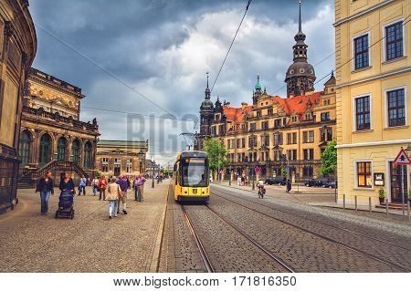 DRESDEN GERMANY - JUNE 7 2012: Old town of Dresden before storm near the Dresden art gallery
