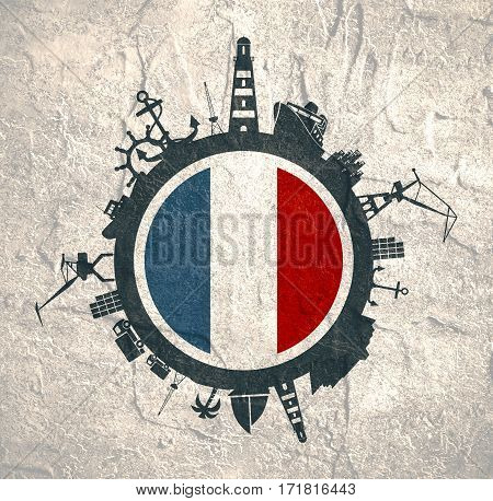 Circle with sea shipping and travel relative silhouettes. Concrete texture. Objects located around the circle. Industrial design background. France flag in the center.