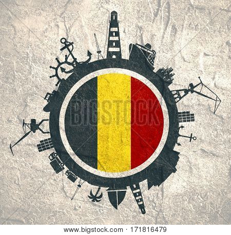 Circle with sea shipping and travel relative silhouettes. Concrete texture. Objects located around the circle. Industrial design background. Belgium flag in the center.