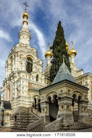 Crimea, Yalta, Russia. Orthodox Christian church Alexander Nevsky Cathedral.