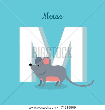Mouse with letter M isolated on blue. Rodent with pointed snout, small rounded ears, a body-length scaly tail and a high breeding rate. Part of alphabetic series with animals. ABC, alphabet. Vector