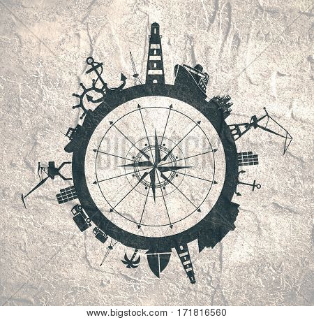 Circle with sea shipping and travel relative silhouettes. Concrete texture. Objects located around the circle. Industrial design background. Compass symbol in the center.