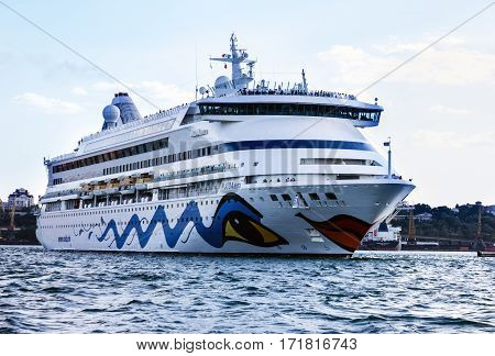 ODESSA UKRAINE - JAN 22, 2017: Cruise ship Aida Aura came into the port of Odessa - biggest cruise port of Ukraine.