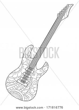 Musical instrument electric guitar coloring book for adults vector illustration. Anti-stress coloring for adult. Zentangle style. Black and white lines. Lace pattern amp