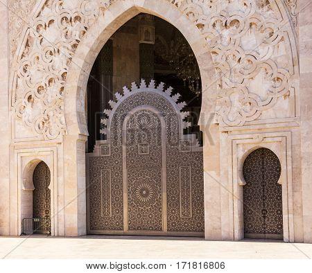 Casablanca, Morocco. Mosque Hassan II building doors