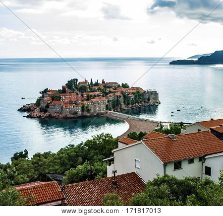Summer resort landscape Island of Saint Stephen, Budva, Adriatic sea, Montenegro