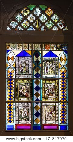 Sintra, Portugal - jan 7, 2017: Vitrage window in church of famous Sintra palace