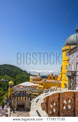 Sintra, Portugal - May 9, 2017: Pena National Palace. Palacio Nacional da Pena, Sintra Portugal.