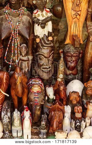 Wooden masks African ethnic souvenirs Morocco. Gift shop.