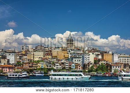 Istanbul, Turkey - Jan 4, 2017: Galata tower sea view in Istanbul, Turkey.