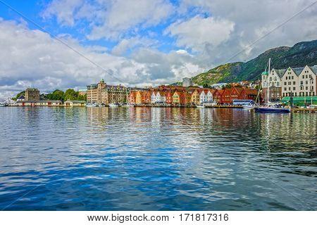 Sea front in historical part of Bergen Norway.