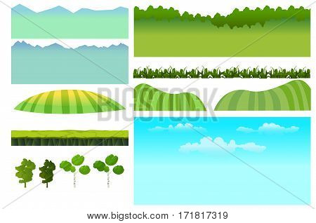 Set of game elements. Elements for mobile game, 2d game application. Vector Illustration for your project