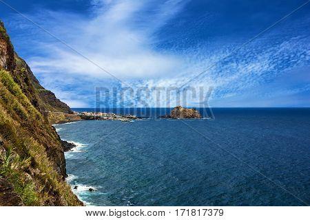 Madeira island sea side landscape, Portugal coast