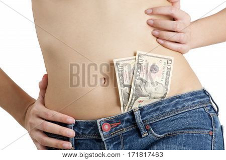 Asian Woman Wearing Jeans With Cash