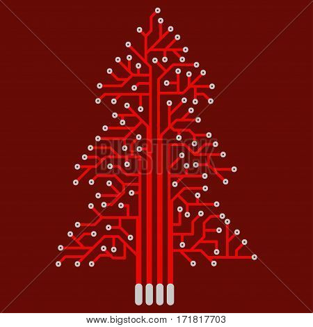 The electronic circuit in the form of Christmas tree. Festive red decoration in the technical style.
