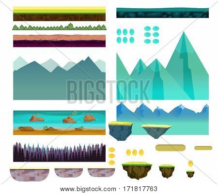 Cartoon nature landscape, vector unending background with ground, hills, river and sky layers. Game elements for your project