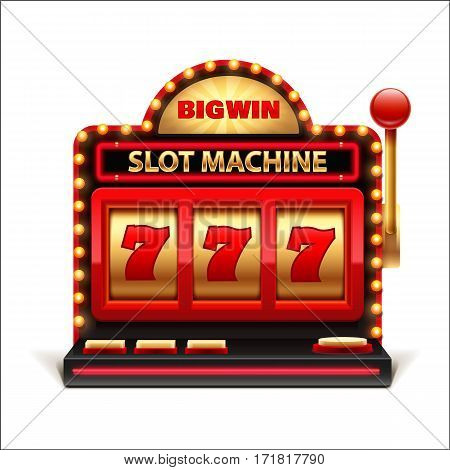 vector illustration of slot machine isolated on white 3d casino object 777 big win