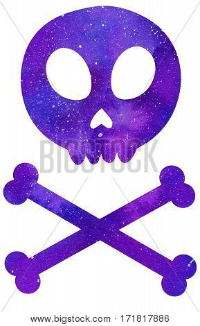 Skull and crossbones. Watercolor cosmic space or galaxy bones. Hand-drawn decorative element useful for invitations scrapbooking design. Real watercolor drawing