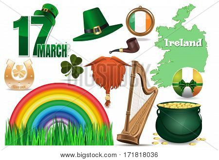 Vector icons set for St. Patrick's Day. 17 March, leprechaun hat, red beard, smoking pipe, clover, golden horseshoe, good luck, green grass, rainbow, Ireland flag, Ireland map, harp, magic pot