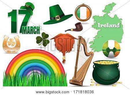 Vector icons set for St. Patrick's Day. 17 March, leprechaun hat, red beard, smoking pipe, clover, golden horseshoe, good luck, green grass, rainbow, Ireland flag, Ireland map, harp, magic pot