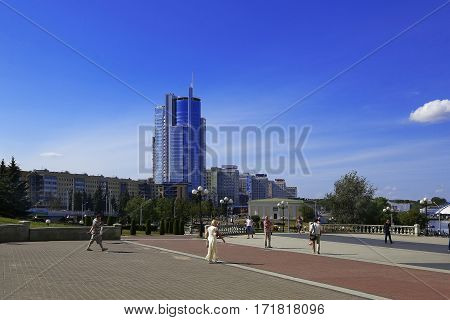 Belarus Minsk Pobediteley Avenue View of the Business Centre and the Royal Plaza near Street Nemiga 13/08/2014; editorial