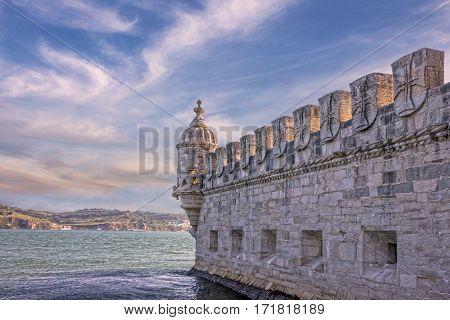 Belem tower museum, Lisbon, Portugal landmark seaview