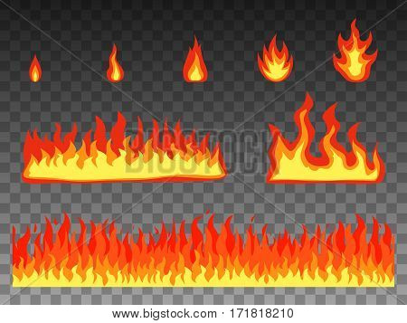 Vector illustration set bright cartoon fire flame. Isolated transparent background. Flat style. Elements, objects for design. The fiery flames of hell, the underworld.