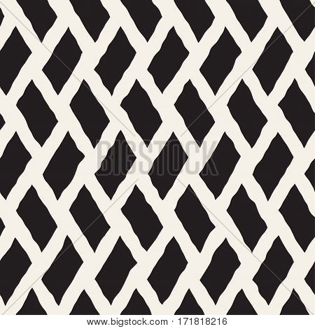 Rhombus Rough Hand Drawn Lines. Abstract Geometric Background Design. Vector Seamless Black and White Pattern.