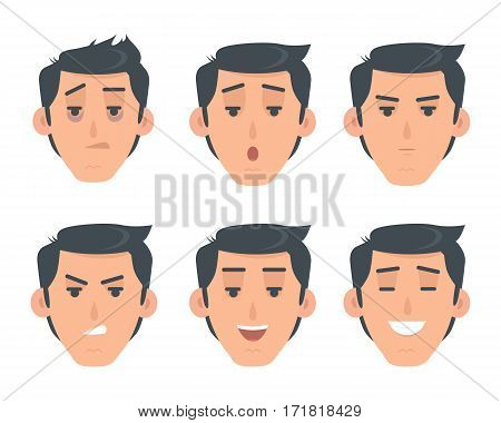 Man face emotive icons. Smiling, angry, surprised, laughing, serious, tired male head flat vector set isolated on white. Human psychological portraits. Variety emotions concept. For app, web design
