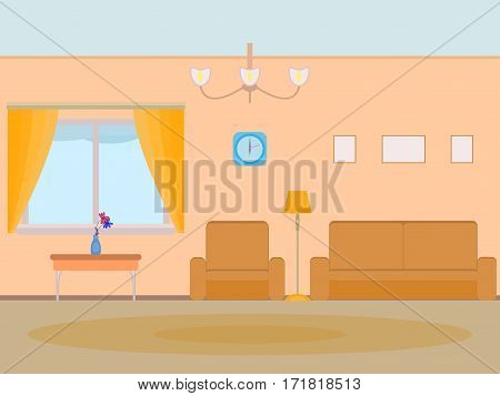 Vector illustration cartoon background living room. Home interior apartment room. Flat stile. To live in hall with a window sofa armchair carpet clock. Home furnishings. Elements for design.