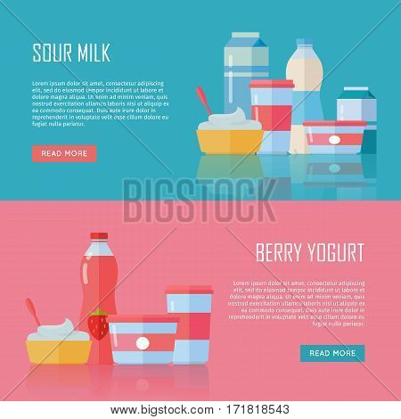 Sour milk and berry yogurt conceptual banners. Set of traditional dairy products as cream and yogurt. For farm, grocery store, cafe, diet and food delivery services apps, prints, logos, web design