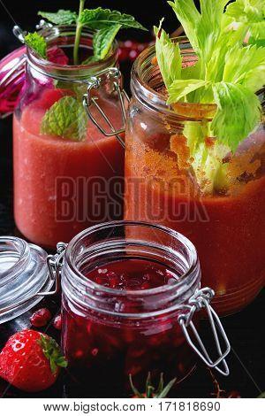 Jars Of Red Smoothies
