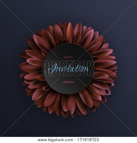 Vector illustration with gerbera or daisy single flower. Good for wedding, greeding card. EPS10.
