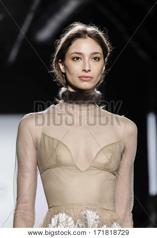 New York NY USA - February 14 2017: Cristina Piccone walks runway for the Dennis Basso FW17 collection runway show during New York Fashion Week at Skylight Clarkson Sq. Manhattan