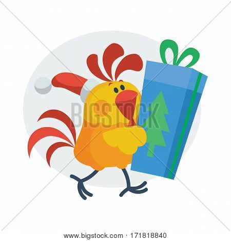Rooster with gift box. Cock in Santa hat with wrapped present isolated flat vector. Chinese zodiac calendar animal character. Cute rooster cartoon for New Year greeting card, xmas holiday invitation