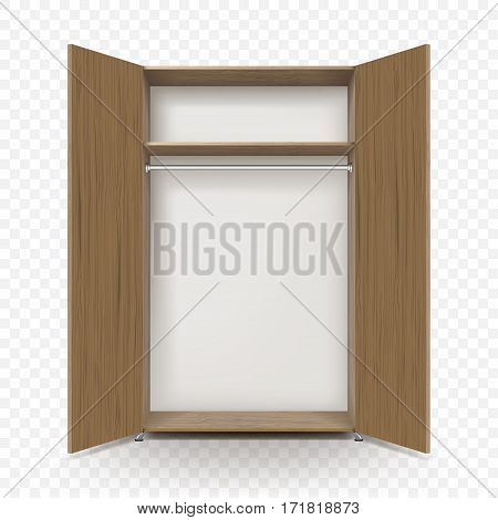 Empty open wooden wardrobe isolated on transparent background