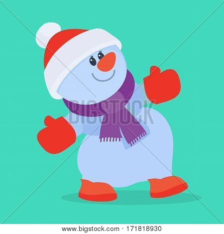 Funny cartoon snowman icon. Cute dancing snowman character isolated flat vector illustration. Celebrating Merry Christmas and Happy New Year concept. For Christmas greeting card, holiday invitations