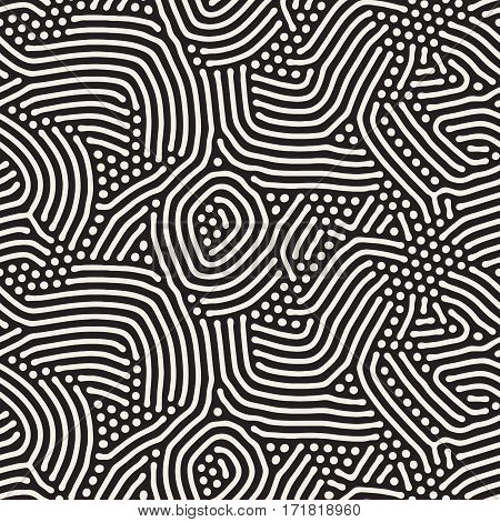 Organic Irregular Rounded Lines. Abstract Freehand Background Design. Vector Seamless Black and White Pattern.