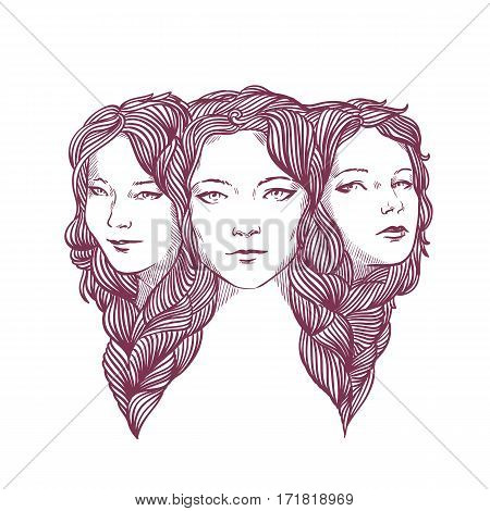 Triptych. Triple portrait of young pretty girlfriends isolated on a white background. Beautiful ladies woven with long curly hair. Vector illustration in line style for your design and prints.