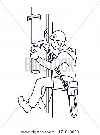 Industrial climber in uniform and helmet mends drainpipe. Professional worker doing his risky work. Man working at height. Rope Access. Vector illustration in line style for your design. poster