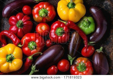 Variety Of Colorful Paprika Peppers