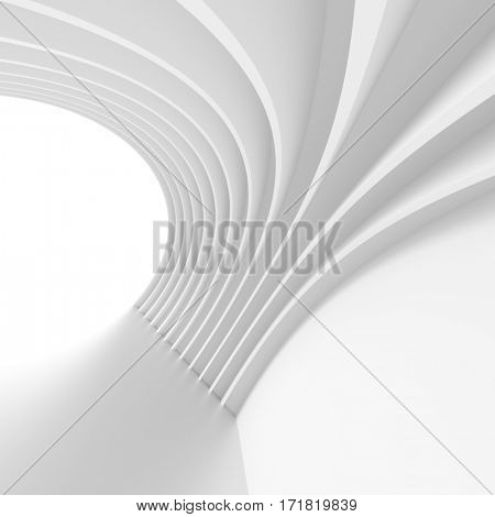 3d Illustration of White Arch Interior Design. Creative Modern Industrial Concept. Abstract Architecture Background