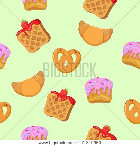 Seamless pattern with croissants, wafers, pretzel with poppy and cupcakes. Endless texture with delicious sweets. Wallpaper design with fresh confectionery. Tasty bakery. Vector in flat style design