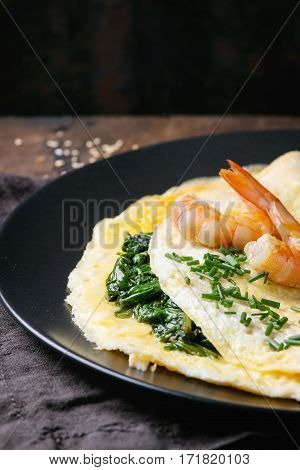 Omelet With Spinach And Shrimps