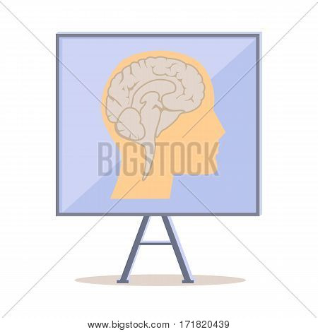 Board on stand with human head silhouette and brain flat vector isolated on white background. Human anatomy illustration. For scientific and medical concepts  and infographics design.