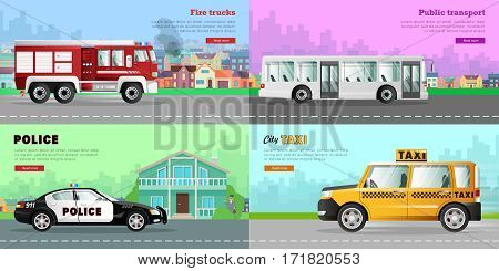 Transport. Collection of four auto pictures. Urban public transport in city. White long passengers bus. Red fire truck on six wheels. Police car near bank. Taxi on road. Simple cartoon design. Vector